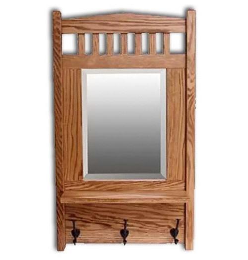 Mission Mirror w/shelf-oak