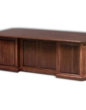 Canted Executive Computer Desk w/ Flutes & Rosettes