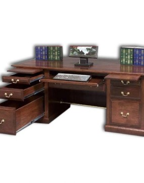 Executive Desk w/ Raised Panel Back & Rail