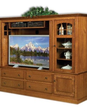 Contemporary Mission Plasma Stand With Stereo Cabinet