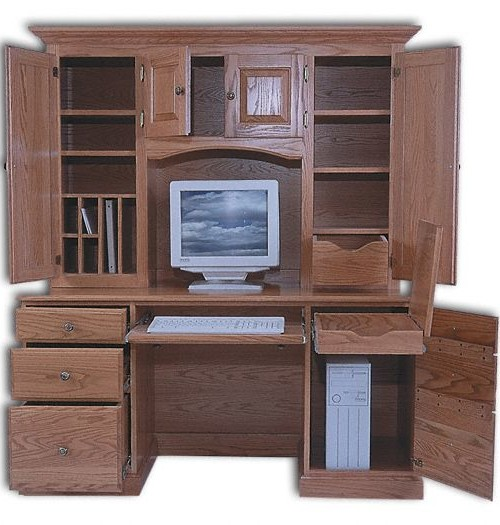 Kneehole Desk With Hutch
