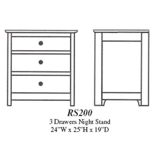 Royal Sante Fe 3-Drawer Nightstand