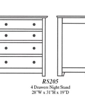 Royal Sante Fe Small 4-Drawer Nightstand
