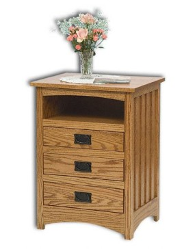 Mission 3 Drawer Open Nightstand
