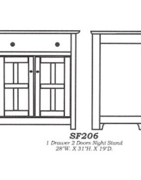 Sante Fe 1-drawer 2-door Nightstand